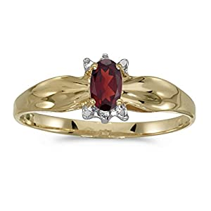14k Yellow Gold Oval Garnet And Diamond Ring (Size 7)