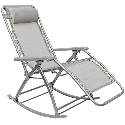 AMANKA-Schaukelliege-178x70cm-Schaukelstuhl-in-Grau-Klappbarer-verstellbarer-Relaxsessel-Liege-Stuhl-Stahlrahmen-Belastbarkeit-max-120-KG