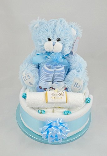 Its A Boy Nappy Cake by Baby Blessed