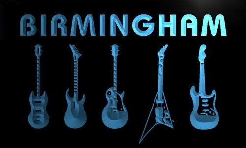 Qp2147-B Birmingham Guitar Weapon Band Music Room Neon Bar Sign