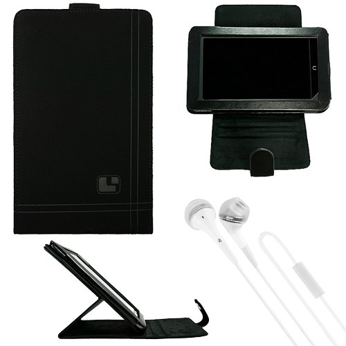 "Sumaclife Nubuck Standing Vertical Case For Hp Slate 7 Extreme 7"" Tablet + White Vangoddy Headphones"