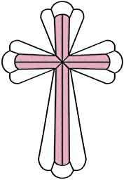 Brewster SG0374 7.7-Inch-by-10.5-Inch Baby Pink Cross Stained Glass Applique