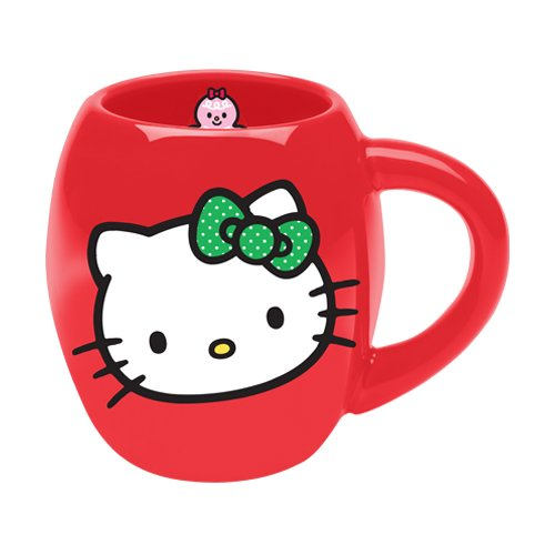 Vandor 18165 Hello Kitty Stars 18 Oz Oval Ceramic Mug, Red, White, And Green