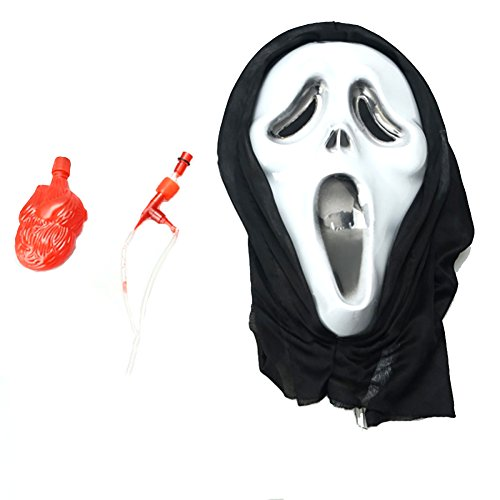 White and Black Halloween Bleeding Wagging Tongue Devil Spirit Mask and Heart Pump