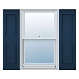 12 in. Vinyl Raised Panel Shutters in Classic Blue - Set of 2 (12 in. W x 1 in. D x 43 in. H (4.4 lbs.))