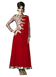 Clickedia Women Georgette Red Shoulder Embroidered Gown