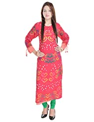 Rajasthani Hand Bhandej Pure Cotton Long Kurta With Designer Sleeves And Rayon Lining