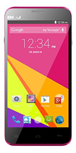 BLU Dash 5.0+ 1.3 GHz Quad Core 4.4KK HSPA+ with 5MP Camera Unlocked Smartphone - Retail Packaging - Pink
