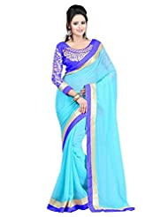 Vatsla Women's Georgette Saree, With Heavy Embroidery Blouse (Sky Blue Colour)