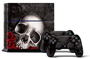 PS4 Designer Skin for Sony PlayStation 4 Console System plus Two(2) Decals for: PS4 Dualshock Controller - Bones Black