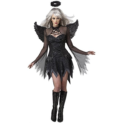 [GSG Dark Angel Costume Adult Halloween Raven Black Fallen Angel Fancy Dress] (Angel Fancy Dress)