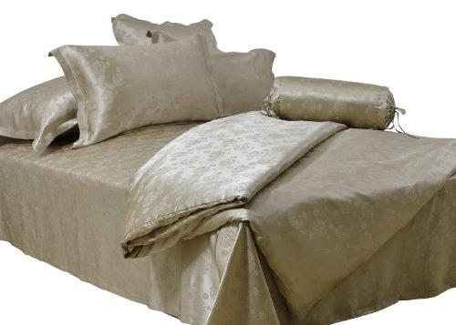 Coloursilk 100% Silk 4 Piece Bedding Set Champagne Jacquard Circles Pattern: 2-022