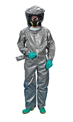 Lakeland ChemMax 3 TES Taped Level B Encapsulated Suit with Flat Back and Back Entry, Disposable, Elastic Cuff, Gray