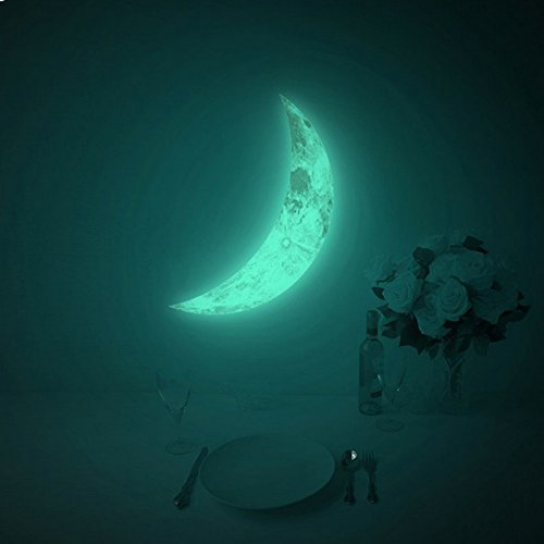Amaonm® Hot Fashion Glow in the Dark Green Crescent Moon Wall Decals Luminous Light Moon Wall Stickers Murals Home Art Decor for Kids Boys and Girls Bedroom Ceiling Windows Deocration (15*9.5cm)