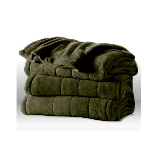 Sunbeam Channeled Microplush Heated Electric Blanket King Olive Green