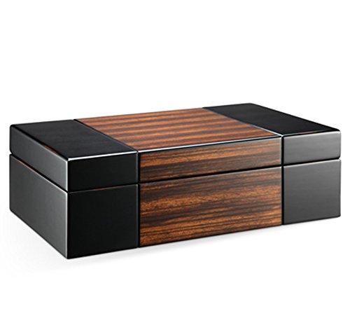 Modern Dark Wood Valet Travel Case Jewelry Box Organizer Storage Hand Lined Sueded Fabric 10