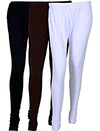 Fashion And Freedom Women's Cotton Leggings Pack Of 3_FFCL_BB2W_BLACK-BLUE-WHITE_FREESIZE