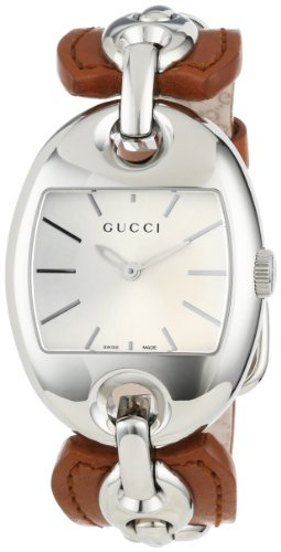 Gucci Women's YA121309 Marina Chain Medium Steel and Brown Leather Bangle Watch