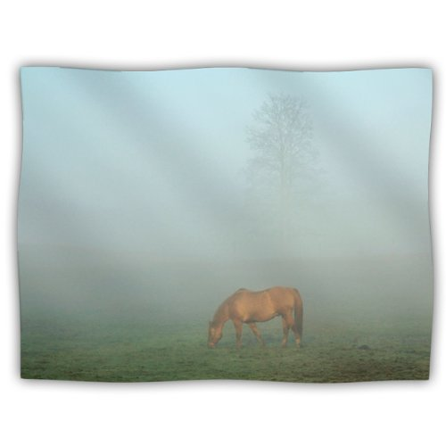 "Kess Inhouse Angie Turner ""Horse In Fog Blue Mist"" Dog Blanket, 60 By 50-Inch front-946834"