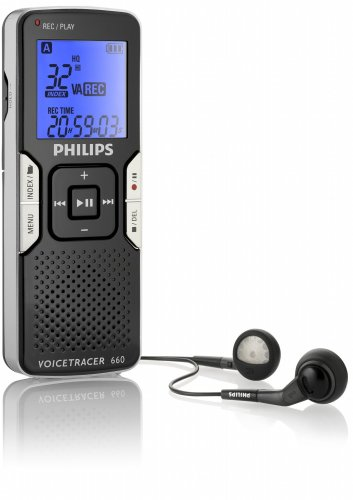 Philips LFH0660/00 Digital Voice Recorder, 1GB Storage, 139 Hours, MP3 Recording, Backlit Display
