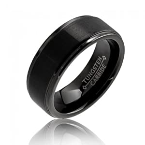Bling Jewelry Black Tungsten Carbide Ring 8mm