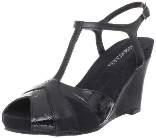 Aerosoles Women's Plushed Velvet T-Strap Sandal,Black Combo,7 M US