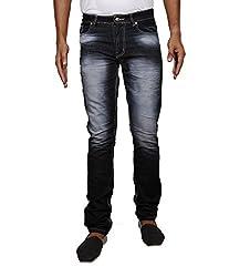 John Wills Men's Slim Fit Jeans (MCR1013--32, Black, 32)