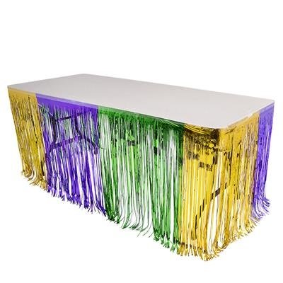 "Mardi Gras Metallic Foil Fringe Table Skirt - 144"" X 30"" - 1"