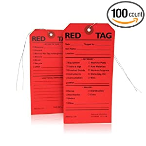 Red Tags : Twist-Tie for 5S (100 red tags): Industrial