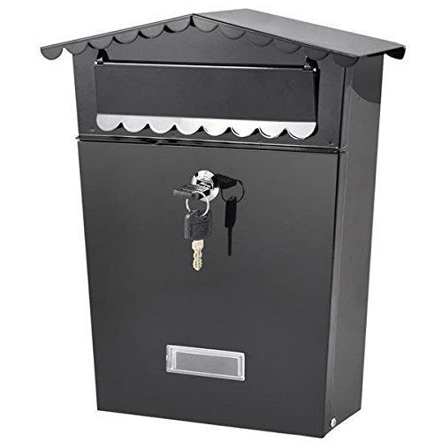 Yaheetech-Lockable-Outside-Wall-Mounted-Metal-MailboxLetterboxPostboxBlack