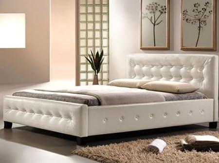 Doppelbett Bett Schlafzimmer Ehebett 160x200 BARCELONA Kunstlederbett Weiß / Braun (Weiß)
