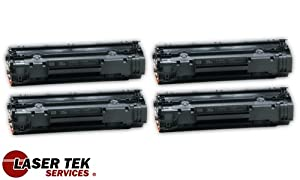 Laser Tek Services® High Yield Toner Cartridge 4 Pack Compatible with HP LaserJet P1005 P1006 CB435A 35A