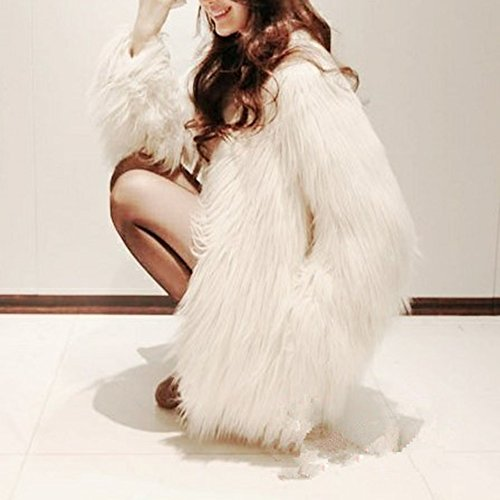 Jade Women's Winter Vintage Solid Faux Fur Short Fur Coat White 1