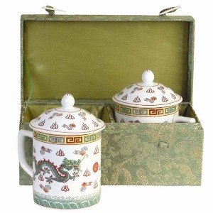 Two Mug Set with Lids Made From Asian Porcelain for Tea or Coffee - Classic Dragon Design in Silk Gift Box
