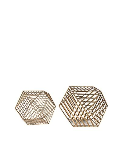 Artistic Set of 2 Metallic Wire Dodecahedrons, Gold Leaf