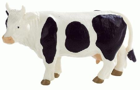 Bullyland Black & White Standing Cow - 1