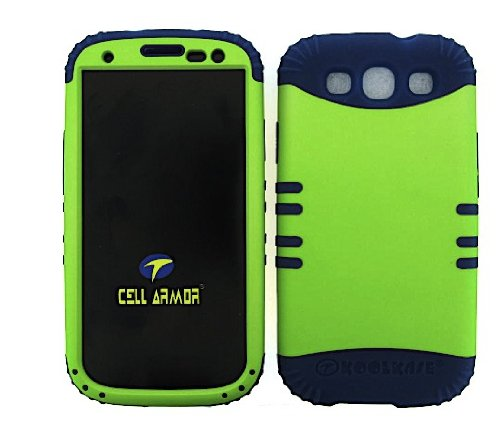Shockproof Hybrid Cell Phone Cover Protector Faceplate Hard Case And Dark Blue Skin With Mini Stylus Pen. Kool Kase Rocker For Samsung Galaxy S3 Siii I9300 Green Db-A008-Pd