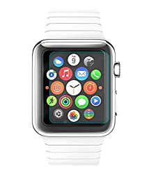 Apple Watch 38mm Compatible Tempered Glass Screen Protector (Antishock, Curved Edged) (Pack of 2, Only Front Transparent Screen Protector) (Combo Offer, get a VJOY 5200 mAh Power-Bank GREEN (1 Year Replacement Guarantee, Lithium Polymer Battery, Long Battery-Life) worth Rupee 1599/- absolutely free with Screen Protector)