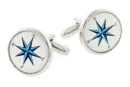 JJ Weston silver plated compass point cufflinks with presentation box. Made in the U.S.A