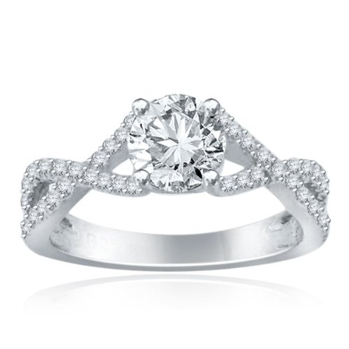Sterling Silver Simulated Diamond Wedding Ring-1.25ct
