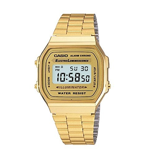 Casio's Classic 1980s Retro Watch in gold luminance Alarm Chrono Digital A168WG-9WDF