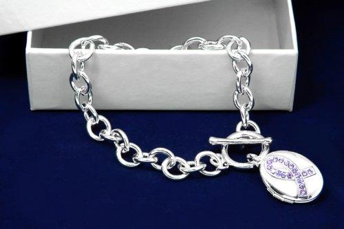 Purple Ribbon Bracelet- Purple Ribbon Locket (18 Bracelets)
