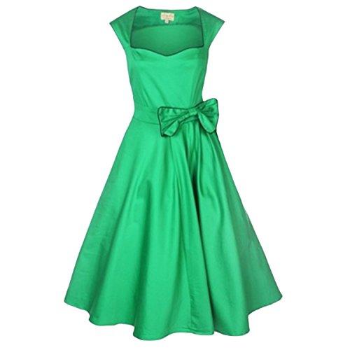 E.Jan1St Women'S Classy Vintage Dress 1950'S Rockabilly Swing Bow Party Tea Dress, Green, 10