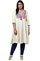 Alto Moda by Pantaloons Womens Cotton Kurta Off White_2