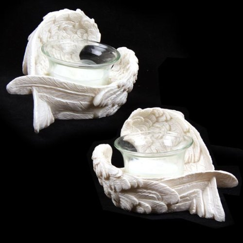 Pair Angel Wings Candle Holders Ornament Mothers Vanentines Day Gifts (Resin Wings compare prices)