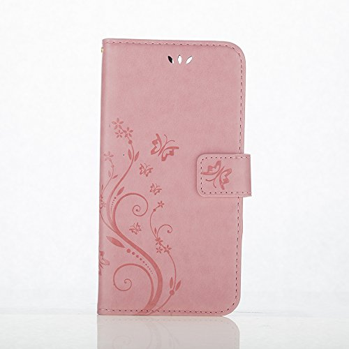 C-Super Mall-UK Apple iPhone 7 Case, PU embossed butterfly & flower Leather Wallet Stand Flip Case for Apple iPhone 7 (pink)