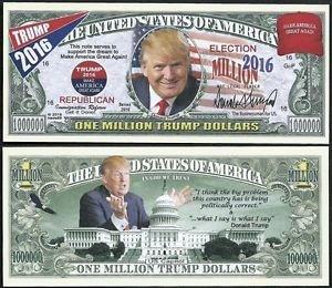 [Lot of 100 BILLS - Donald Trump, Make America Great Again Million Dollar Bill] (Prison Mike Halloween Costume)