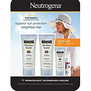 Neutrogena Ultra Sheer Dry-touch Sunblock, 3 Oz., 2-pk with Travel-size Sunblock and Lip Moisturizer