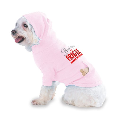 Book keepers are FRAGILE handle with care Hooded (Hoody) T-Shirt with pocket for your Dog or Cat Medium Lt Pink