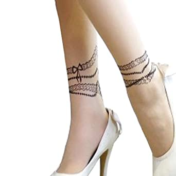Sexy Ankle Bracelets Print Tattoo Sheer Pantyhose Tights XS ~ M at